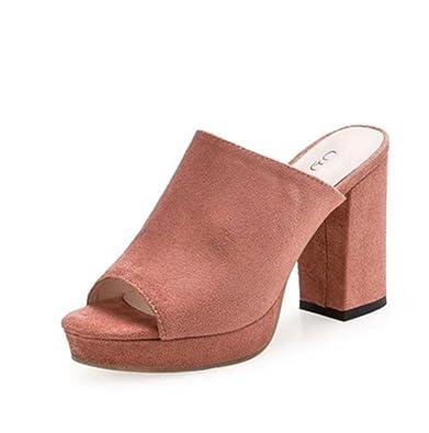 weiwei Damen Sommer Coole Hausschuhe High-Heel,Grobe Mode Sandalen-D Fußlänge=24.3CM(9.6Inch)