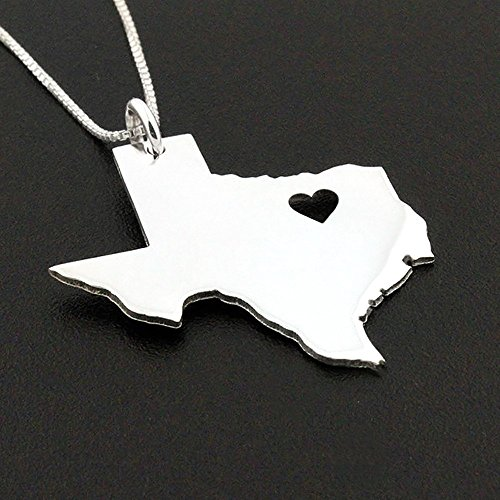 Texas necklace Personalized sterling silver Bright Satin Finish Texas state necklace with heart Hometown Jewelry - best friend Gift - family gift - long distance relationship gifts - Texas - Fashion California Island