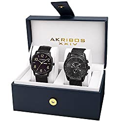 Akribos XXIV Men's AK885BK Quartz Multifunction Strap and Bracelet Watch Set