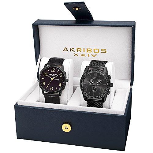 Akribos XXIV Men's AK885BK Quartz Multifunction Strap and Bracelet Watch Set - Mens Multifunction Bracelet Watch