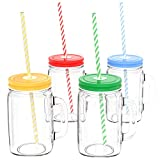 Vremi Mason Jars with Handles Lids and Straws - 20 Oz 4 Piece Wide Mouth Mason Jar Mugs Set with Colored Metal Lids and Holder - Decorative 1.25 Pint Glass Tumbler Set with Mason Jar Accessories