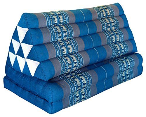 Thai triangle cushion XXL, with 2 folding seats, blue/grey, sofa, relaxation, beach, pool, meditation, yoga, made in Thailand. (81717) by Wilai GmbH