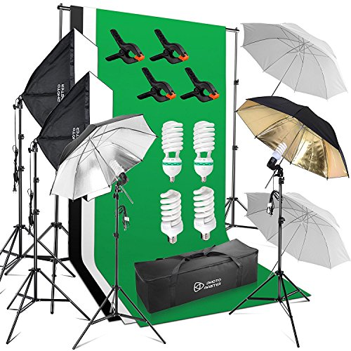 Photo Master Photography Video Studio Lighting Kit 1200W for Photo Studio Product and Video Shoot Includes Background Backdrop , 6x6.5ft Background Stand, 2x Softbox, Umbrellas kits, Clamps by PHOTO MASTER