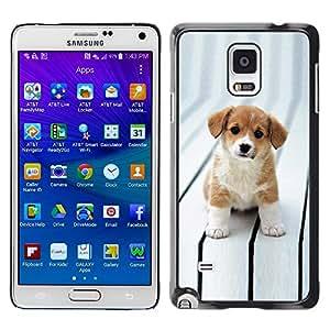 TopCaseStore / la caja del caucho duro de la cubierta de protección de la piel - Puppy Cut Adorable Brown White Big Eyes - Samsung Galaxy Note 4 SM-N910