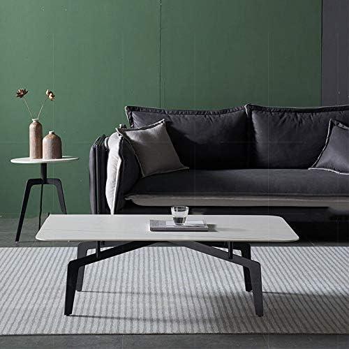 Koop Het Beste Moderne salontafel marmeren plaat rechthoekige salontafel middentafel met metalen frame voor woonkamer 47 inch wit PZnOyn2