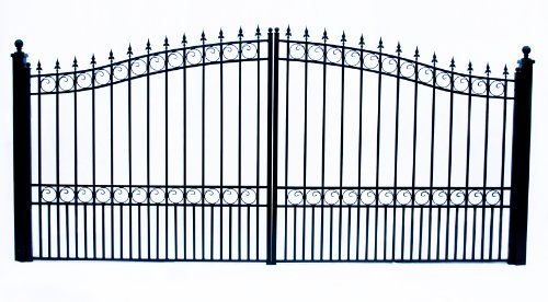 ALEKO DG16LOND London Style Dual Swing Galvanized Steel Driveway Security Gate 16 x 6 Feet Black ()