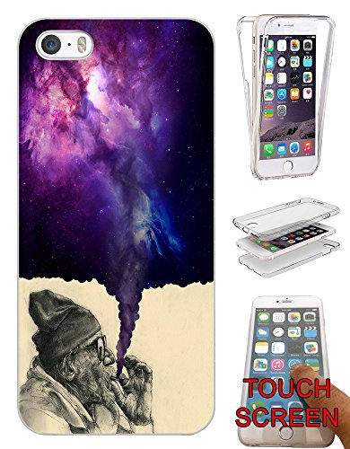 "003032 - Old Hobo Smoking Weed Tornado Galaxy Design iphone 6 Plus / 6S plus 5.5"" Fashion Trend Silikon Hülle Komplett 360 Degree Protection Flip Schutzhülle Gel Rubber Silicone Hülle"