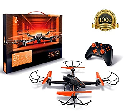 Fuse X27 Cobalt Drone HD Camera | Upgraded 4GB SD Card | Extra Battery Doubles Flying Time | Easy to Fly for Beginners & Experts | 2.4GHz 4 CH 6-Axis Gyro RC Quadcopter | Headless Mode | 1-Key Return