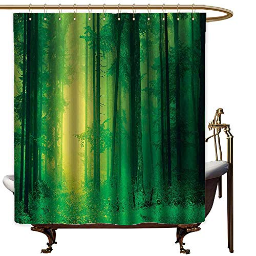 StarsART Shower Curtains with Blue Green Tree Mystic Decor,Fantasy Springtime Forest Tall Trees with Magical Light Fairytale Twilight Art Print,Green,W65 x L72,Shower Curtain for Shower ()
