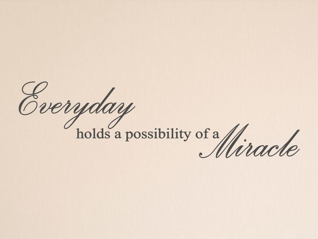 Vinylsay Everyday holds a possibility of a miracle Wall Decal, 66'' x 18'', Matte Dark Grey by Vinylsay