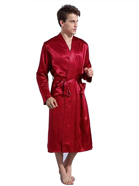 Sitila Batas de baño de satén para Hombre Batas de Verano de Peso Ligero Batas de Kimono Largo Rojo XL: Amazon.es: Ropa y accesorios