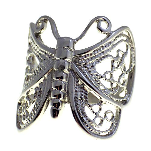 Fantasy Forge Jewelry Womens Filigree Butterfly Ring Stainless Steel Band Size 6