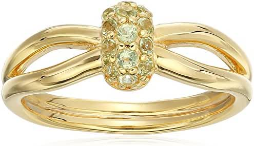 Yellow Gold Plated Sterling Silver Bead Split Shank Ring