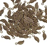 CusCus Charm antique brass-plated brass 7x3.5mm double-sided leaf-H20-A4090FN