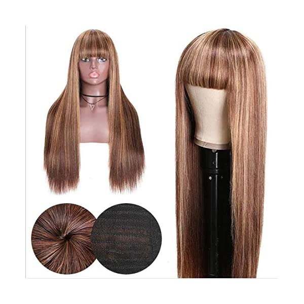 Beauty Forever Honey Blond Ombre Highlight Silk Straight Wig With Bangs Glueless None Lace Human Hair Wigs For Women Black Hair Information