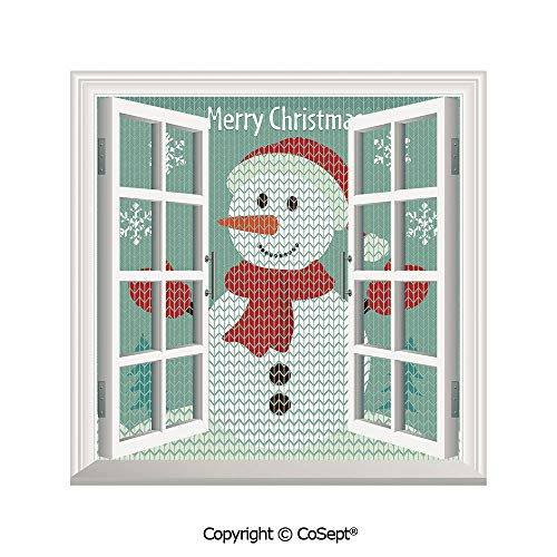 SCOXIXI Window Wall Sticker,Traditional Holiday Cute Greeting Snowman Snowflakes Pine Trees Cheerful Decorative,3D Window View Decal Home Decor Deco Art (25.86x22.63 inch)