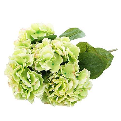 Green Artificial Hydrangea Silk Flowers 5 Heads SOLEDI Artificial Flower Arrangements Bunch Bridal Bouquet Wedding Bouquet for Home Garden Party Decoration Home (Hydrangea Flower Arrangements)