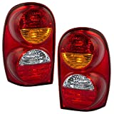 Pair Set Taillights Tail Lamps w/Harness, Bulbs & Sockets for 02-04 Jeep Liberty 55155829AH 55155828AH