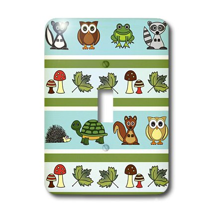 3dRose LLC lsp_13806_1 Cute Woodland Creatures Forest Print - Single Toggle Switch (Woodlands One Light)
