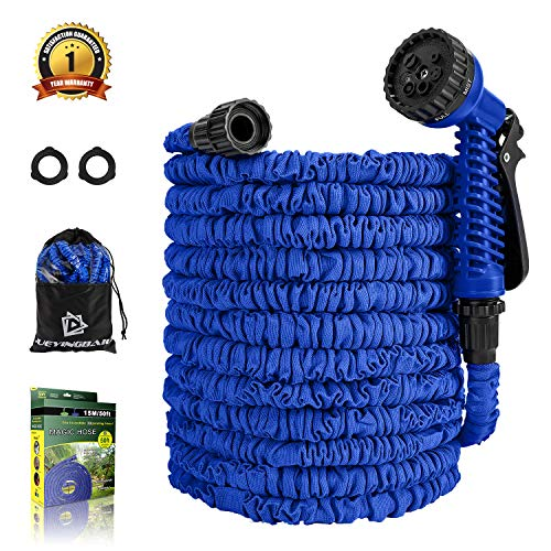 Garden Hose – 50 FT Expandable Water Hose – Lightweight Triple Latex Core & Extra Strength Fabric Water Pipe with 3/4″ Solid Fittings, Storage Bag for Gardening Lawn Car Pet Washing (Blue)