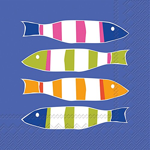 Celebrate the Home Kate Nelligan 3-Ply Paper Cocktail Napkins, Stripers, 20 Count (Dinner Fish)