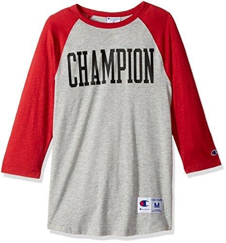 Champion Men's Heritage Baseball Slub Tee, Oxford Grey/Fire Roasted Red/Tall Block Horizontal, X-Large