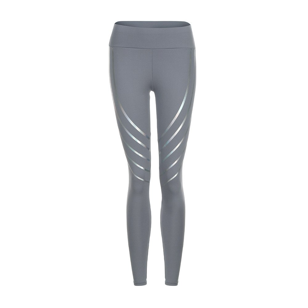Women's Yoga Capri Pants Women Waist Yoga Fitness Leggings Running Gym Stretch Sports Pants Trousers (S, Gray)