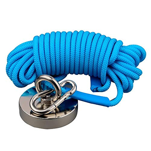 Mutuactor Fishing Magnets 700lbs Strong Pull Force, Powerful Retrieval Neodymium Magnet N52 with10m (32feet) Durable Rope,Magnet Fishing for Underwater Metal and Treasure Salvage Magnet in Water