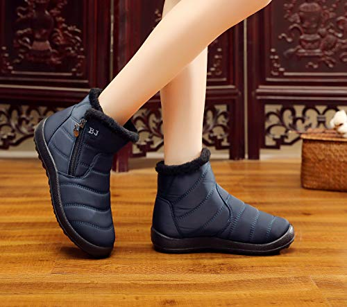 Size Boots Blue Resistance Water UK Lined HAINE with Men Winter 3 Fur Zipper Fully Shoes Anti Slip 9 UK Women xFqqAYw6