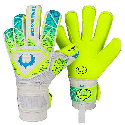 Renegade GK Vortex Wraith Level 3 Goalkeeper Gloves Roll-Hybrid Cut - Soccer Goalie Gloves Size 8 with German Hypergrip Palms- Goalie Gloves White, Neon Yellow, Blue - Kids Goalie Gloves