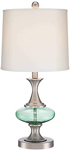 Reiner Modern Accent Table Lamp Brushed Steel Blue Green Glass Off White Drum Shade for Living Room Family Bedroom Bedside – 360 Lighting