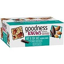 goodnessKNOWS Dark Chocolate, Nuts & Sea Salt Gluten Free Snack Square Bars 12-Count Box