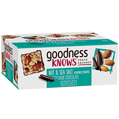 goodnessKNOWS Dark Chocolate, Nuts & Sea Salt Gluten Free Snacks Square Bars 12-Count Box