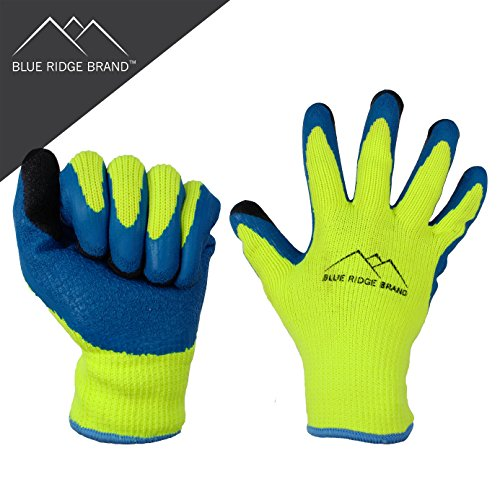 Blue Ridge BrandTM Winter Latex Work Gloves - 7 Gauge Polyester Cold Weather Glove - High Visibility Rubber Grip Gloves - Men