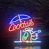 Cocktails Metal Frame Neon Sign 17''x13'' Real Glass Neon Sign Light for Beer Bar Pub Garage Room Wall neon Signs
