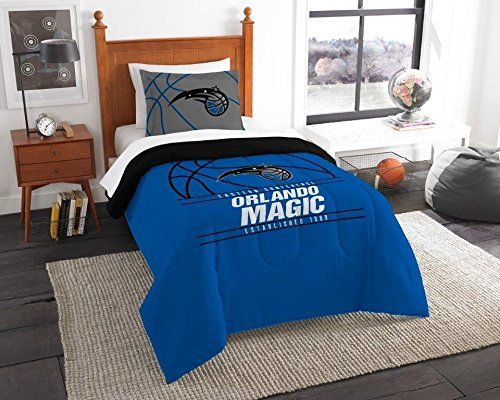 """- Orlando Magic - 2 Piece Twin Size Printed Comforter Set - Entire Set Includes: 1 Twin Comforter (64""""x86"""") & 1 Pillow Sham - NBA Basketball Bedding Bedroom Accessories"""