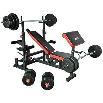 TrainHard - Banco de pesas Fuerza Station Fitness Center Negro/Rojo Con Largo de, Curl de y barras cortas y discos de 120 kg: Amazon.es: Deportes y aire ...