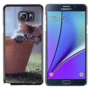 EJOOY---Cubierta de la caja de protección para la piel dura ** Samsung Galaxy Note 5 5th N9200 ** --LINDO GATITO CAT CESTA