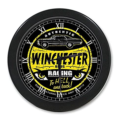 G-Store Sam Dean Winchester Supernatural to Hell and Back Modern Decorative Arabic Numerals Round Decorative Wall Clock Black (Supernatural Battery)