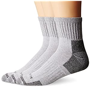 Carhartt Men's 3 Pack Work Quarter Socks, Grey, Size: 6-12