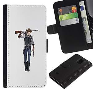 Stuss Case / Funda Carcasa PU de Cuero - Arte del animado del vaquero arma de combate de la historieta - Samsung Galaxy S5 Mini, SM-G800