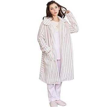 HXQ Invierno Franela Pijamas las Mujeres rayas de moda Bata Albornoz , Pink , m