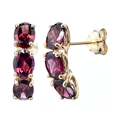 Yellow Gold Plated Sterling Silver 3 Stone Rhodolite Earrings (4 CT)