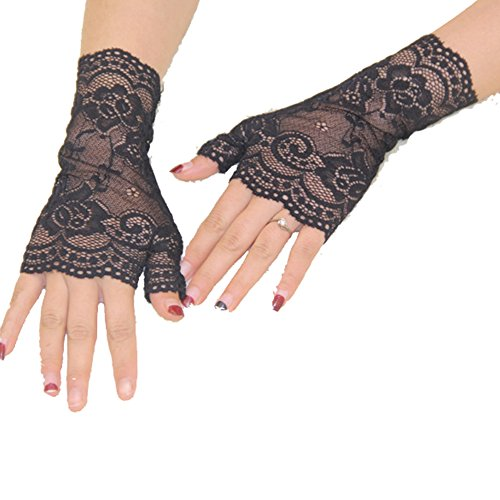 Aurora Bridal® Women's Short Lace Half Finger Bridal Gloves Black (Black Lace Shorts)