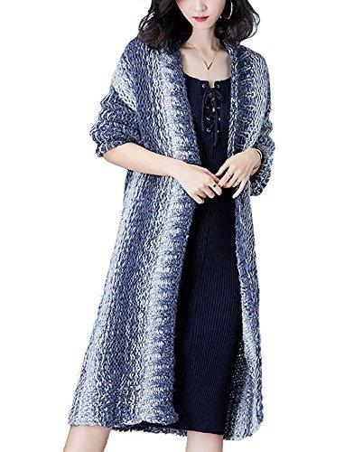 Wool Cardigan Sweater Coat (Bilili Womens Open Front Long Sleeve Knit Boyfriend Cardigan Sweater Coat (L, Steel Blue))