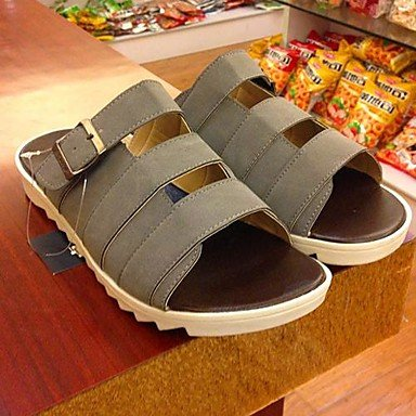 Zapatos de hombre casual sandalias de piel sintética negra/azul/marrón/verde/gris/beige Blue