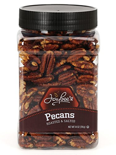 Jaybee's Whole Roasted Salted Pecans - Great for Gift Giving or As Everyday Snack - Reusable Container - Certified Kosher (13 Ounces)