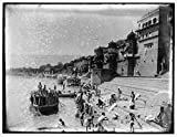 Vintography 8 x 10 Reprinted Old Photo Bathing in The Ganges India 1895 Detriot Publishing co. 18a