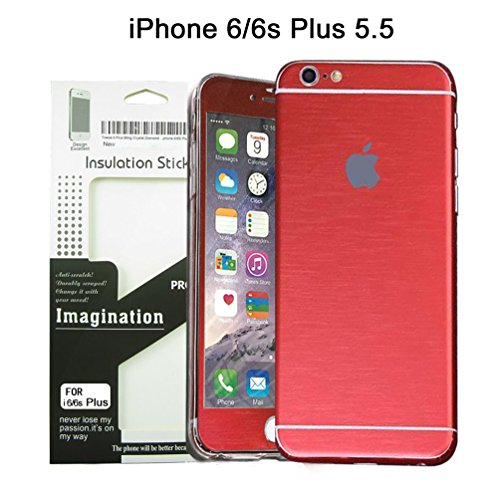 Brushed Metal Full Body Skin Sticker Aluminum Decal Wrap Cover for iPhone 6 Plus / 6s Plus (Red), Dustproof - Waterproof - Oilproof and fingerprints prevent