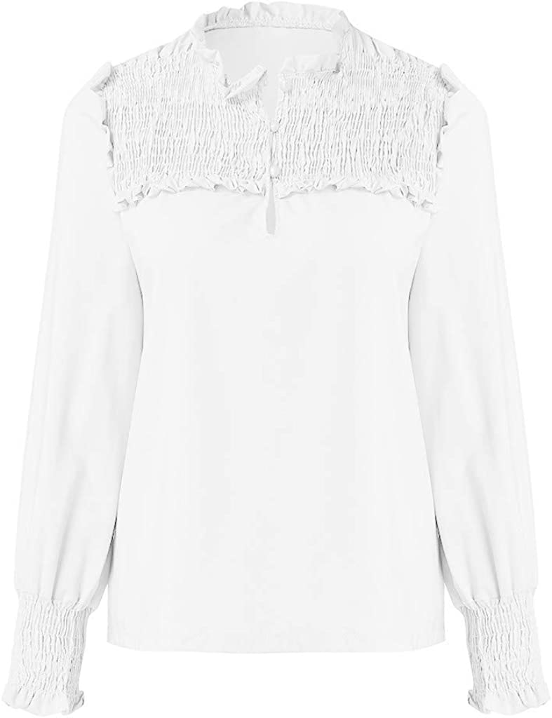 IJKLMNOP Womens Chiffon Casual Button Down Elastic Cuffs Tops Ladies Shirts Blouse Tunic Tops Loose Shirts Pink White S//M//L//XL//XXL//XXXL//XXXXL//XXXXXL
